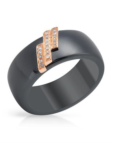 Lundstrom Brand New Ring with 0.07ctw diamond  Black ceramic and 14K Rose gold