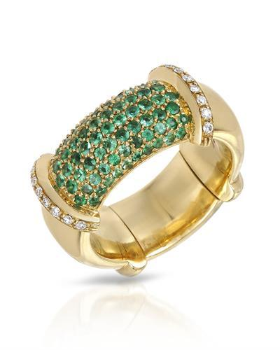 Julius Rappoport Brand New Ring with 0.77ctw of Precious Stones - diamond and emerald 18K Yellow gold
