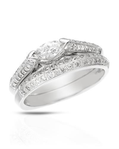 Brand New Ring with 0.58ctw of Precious Stones - diamond and diamond 14K White gold