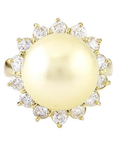 12.95 mm Gold South Sea Pearl 14K Solid Yellow Gold Diamond Ring