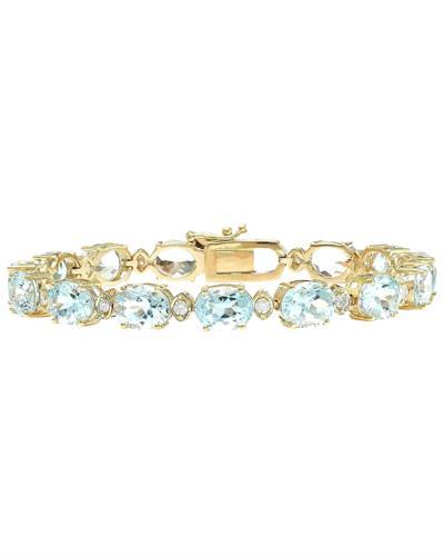 29.85 Carat Natural Aquamarine 14K Solid Yellow Gold Diamond Bracelet