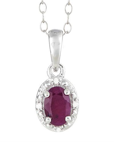 Brand New Necklace with 0.61ctw of Precious Stones - diamond and ruby 925 Silver sterling silver