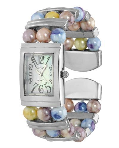 Varsales Brand New Quartz Watch with 0ctw of Precious Stones - faux pearl and mother of pearl
