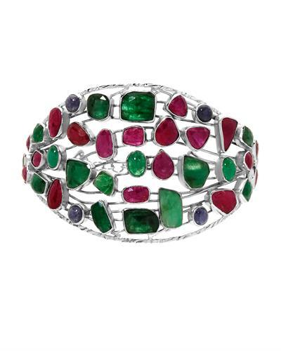 Brand New Bracelet with 50.7ctw of Precious Stones - emerald, ruby, and tanzanite 925 Silver sterling silver