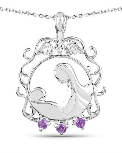Brand New Necklace with 0.09ctw amethyst 925 Silver sterling silver