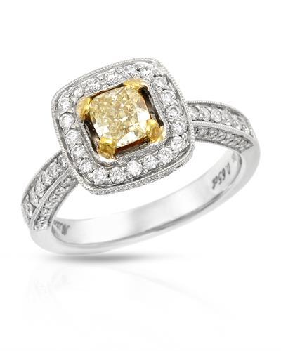 Brand New Ring with 1.43ctw of Precious Stones - diamond and diamond 18K Two tone gold