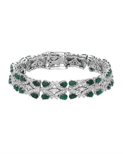Brand New Bracelet with 14.75ctw of Precious Stones - cubic zirconia and emerald 925 Silver sterling silver