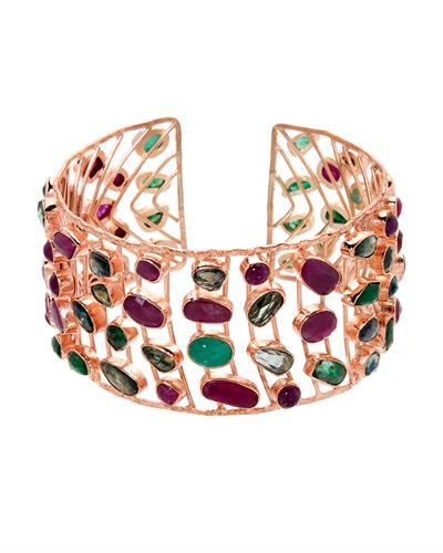 Brand New Bracelet with 53.18ctw of Precious Stones - emerald, ruby, and sapphire 10K/925 Rose Gold plated Silver