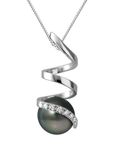 Ateliers Saint Germain Brand New Necklace with 0.06ctw of Precious Stones - diamond and pearl 9K White gold
