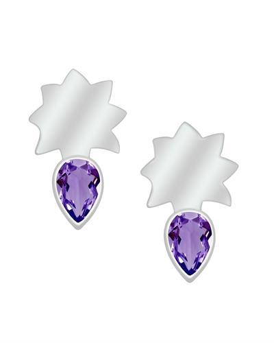 Brand New Earring with 0.9ctw amethyst 925 Silver sterling silver