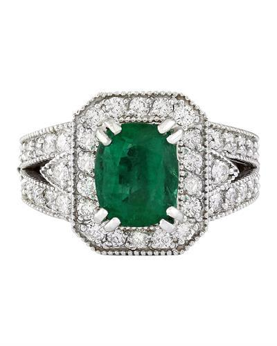 3.17 Carat Natural Emerald 14K Solid White Gold Diamond Ring