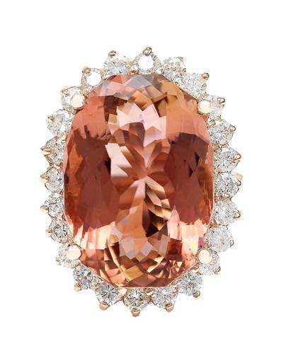 16.60 Carat Natural Morganite 14K Solid Rose Gold Diamond Ring