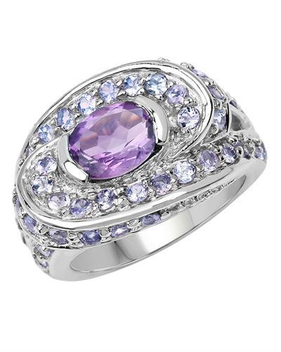 Brand New Ring with 2.76ctw of Precious Stones - amethyst and tanzanite 925 Silver sterling silver