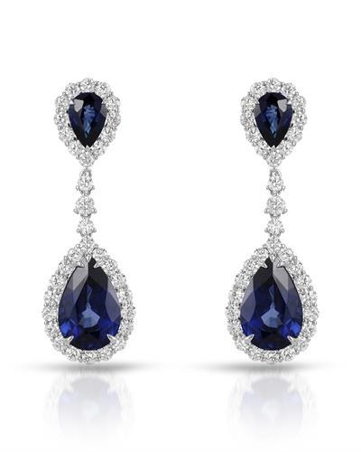 Julius Rappoport Brand New Earring with 20.72ctw of Precious Stones - diamond and sapphire 18K White gold