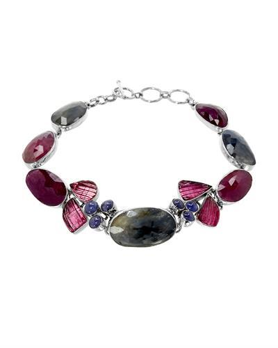 Brand New Bracelet with 61.77ctw of Precious Stones - sapphire, tanzanite, and tourmaline 925 Silver sterling silver