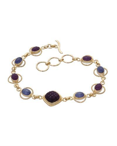 Brand New Bracelet with 15.43ctw of Precious Stones - ruby and tanzanite 10K/925 Yellow Gold plated Silver