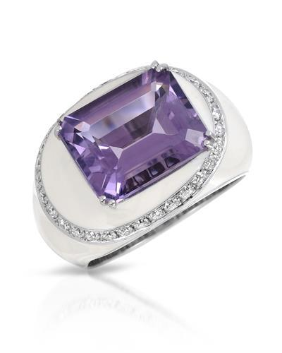 Julius Rappoport Brand New Ring with 5.52ctw of Precious Stones - amethyst and diamond  White Enamel and 18K F - G gold