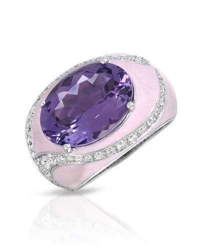 Julius Rappoport Brand New Ring with 5.84ctw of Precious Stones - amethyst and diamond  Pink Enamel and 18K F - G gold