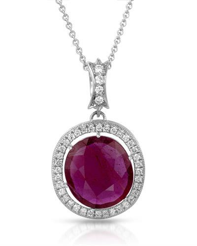 HELLMUTH Brand New Necklace with 12.04ctw of Precious Stones - diamond and ruby 18K White gold