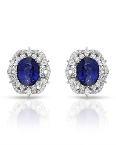 Julius Rappoport Brand New Earring with 9.65ctw of Precious Stones - diamond and sapphire 18K White gold