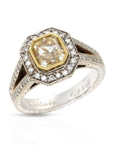 Brand New Ring with 1.99ctw of Precious Stones - diamond and diamond 18K Two tone gold