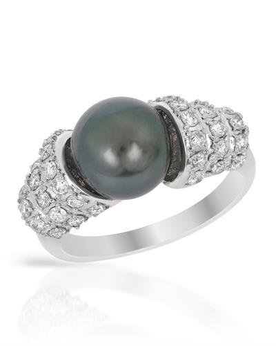 Brand New Ring with 0.6ctw of Precious Stones - diamond and pearl 14K White gold