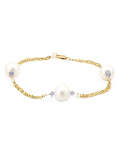 PEARL LUSTRE Brand New Bracelet with 0.75ctw of Precious Stones - pearl and tanzanite 14K Yellow gold