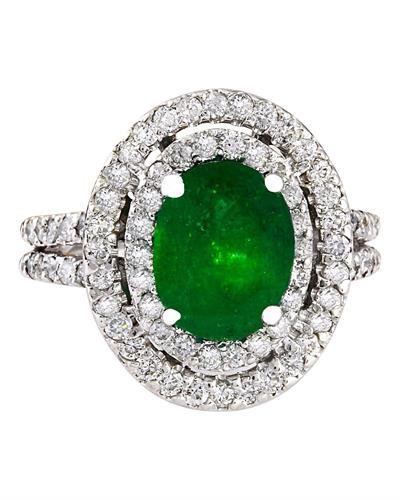 3.53 Carat Natural Emerald 14K Solid White Gold Diamond Ring