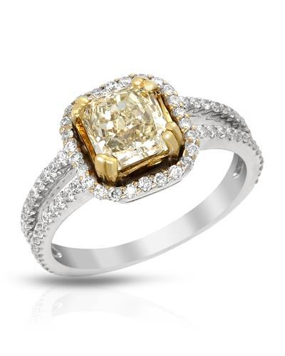 Brand New Ring with 2.01ctw of Precious Stones - diamond and diamond 18K Two tone gold