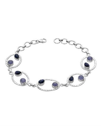 Brand New Bracelet with 6.69ctw of Precious Stones - sapphire and tanzanite 925 Silver sterling silver