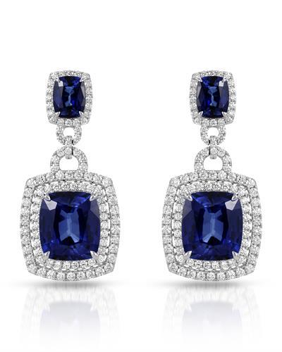 Julius Rappoport Brand New Earring with 40.86ctw of Precious Stones - diamond and sapphire 18K White gold
