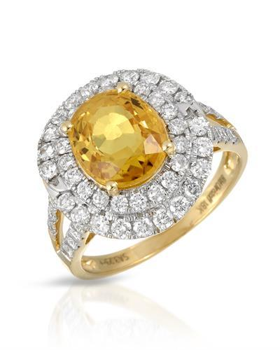 Michael Christoff Brand New Ring with 4.24ctw of Precious Stones - diamond and sapphire 18K Yellow gold