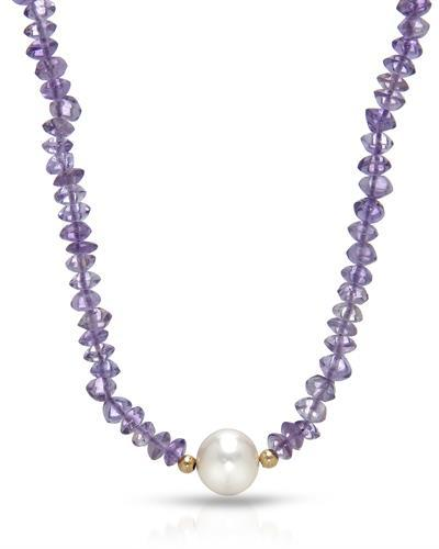 PEARL LUSTRE Brand New Necklace with 68.5ctw of Precious Stones - amethyst and pearl 14K Yellow gold