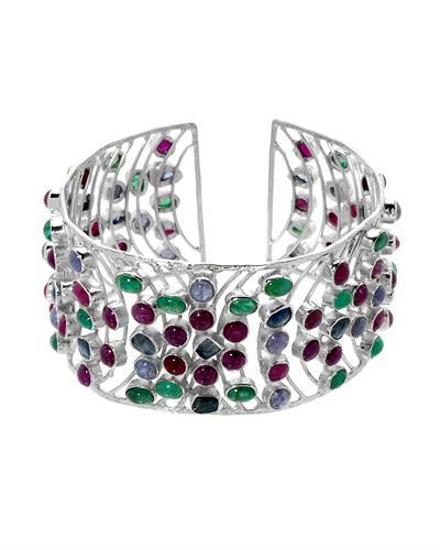 Brand New Bracelet with 58.2ctw of Precious Stones - emerald, ruby, sapphire, and tanzanite 925 Silver sterling silver