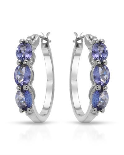 Brand New Earring with 1.99ctw of Precious Stones - diamond and tanzanite 925 Silver sterling silver