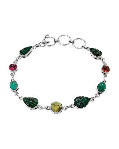 Brand New Bracelet with 14.92ctw of Precious Stones - emerald and tourmaline 925 Silver sterling silver