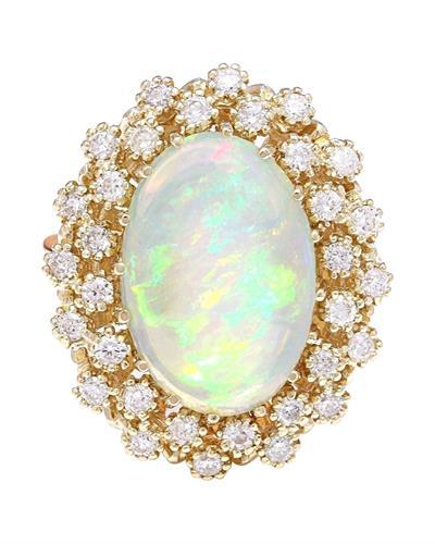 5.70 Carat Natural Opal 14K Solid Yellow Gold Diamond Ring