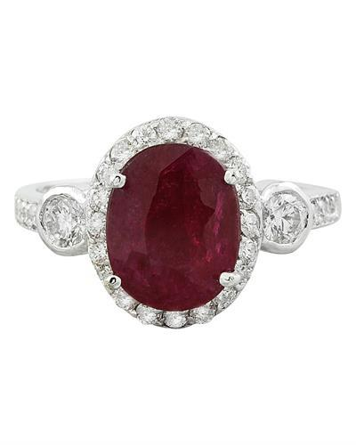 3.00 Carat Ruby 14K White Gold Diamond Ring