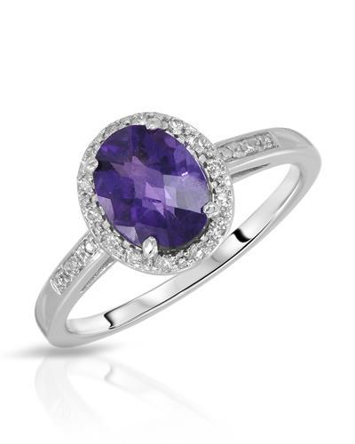 Magnolia Brand New Ring with 1.35ctw of Precious Stones - amethyst and diamond 14K White gold