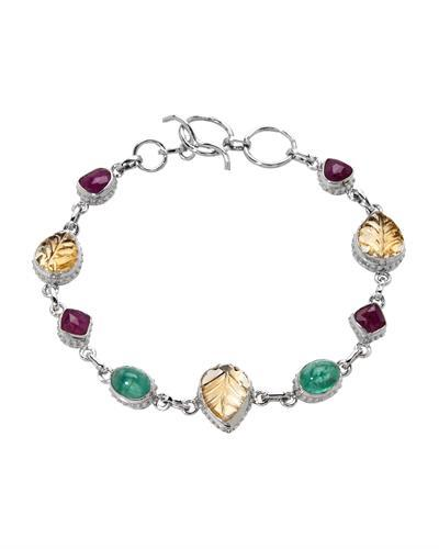 Brand New Bracelet with 12.88ctw of Precious Stones - citrine, emerald, and ruby 925 Silver sterling silver