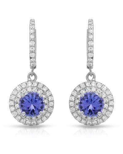 Lundstrom Brand New Earring with 4.32ctw of Precious Stones - diamond and tanzanite 14K White gold