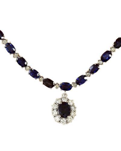 48.83 Carat Natural Sapphire 14K Solid White Gold Diamond Necklace