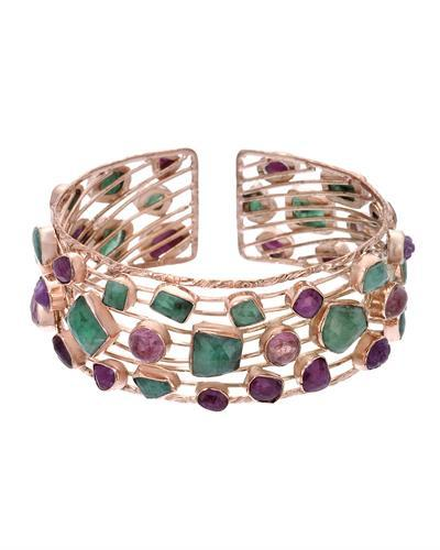 Brand New Bracelet with 53.35ctw of Precious Stones - emerald, ruby, and tourmaline 10K/925 Rose Gold plated Silver