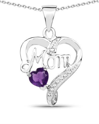 Brand New Necklace with 0.49ctw of Precious Stones - amethyst and topaz 925 Silver sterling silver