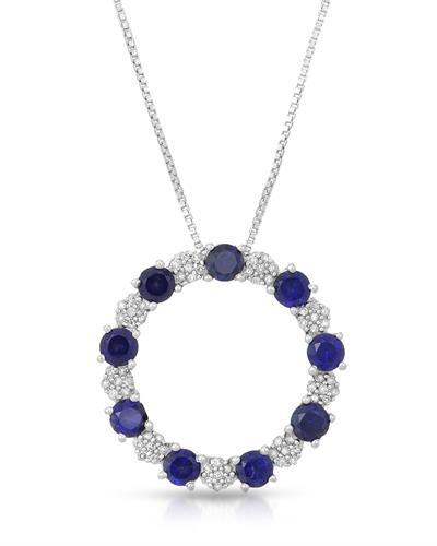 Brand New Necklace with 1.45ctw of Precious Stones - diamond and sapphire 925 Silver sterling silver