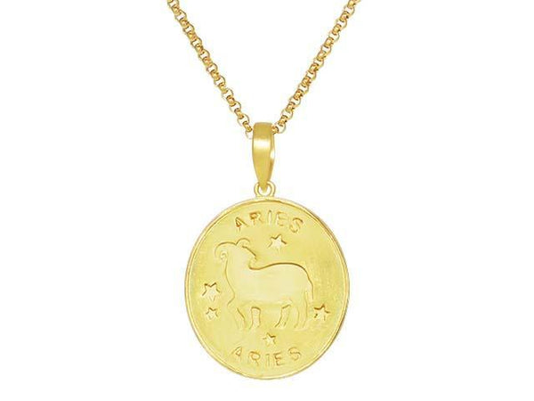 SeChic Brand New Aries Oval Pendant in 14K Gold Plated Silver