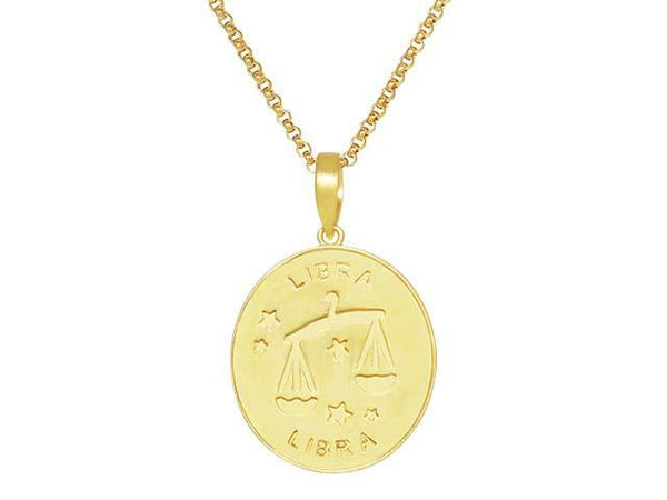 SeChic Brand New Libra Oval Pendant in 14K Gold Plated Silver