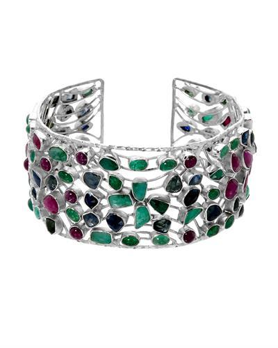 Brand New Bracelet with 58.5ctw of Precious Stones - emerald, ruby, and sapphire 925 Silver sterling silver