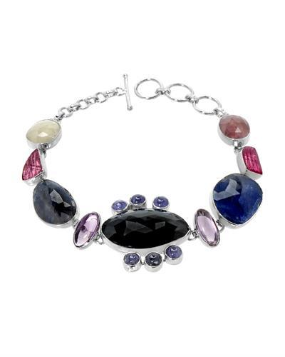 Brand New Bracelet with 59.24ctw of Precious Stones - amethyst, sapphire, tanzanite, and tourmaline 925 Silver sterling silver