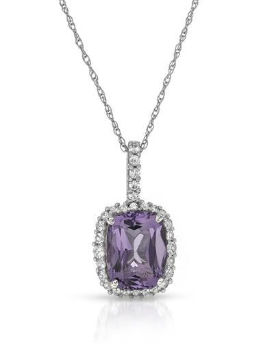 Magnolia Brand New Necklace with 2.74ctw of Precious Stones - amethyst and sapphire 10K White gold